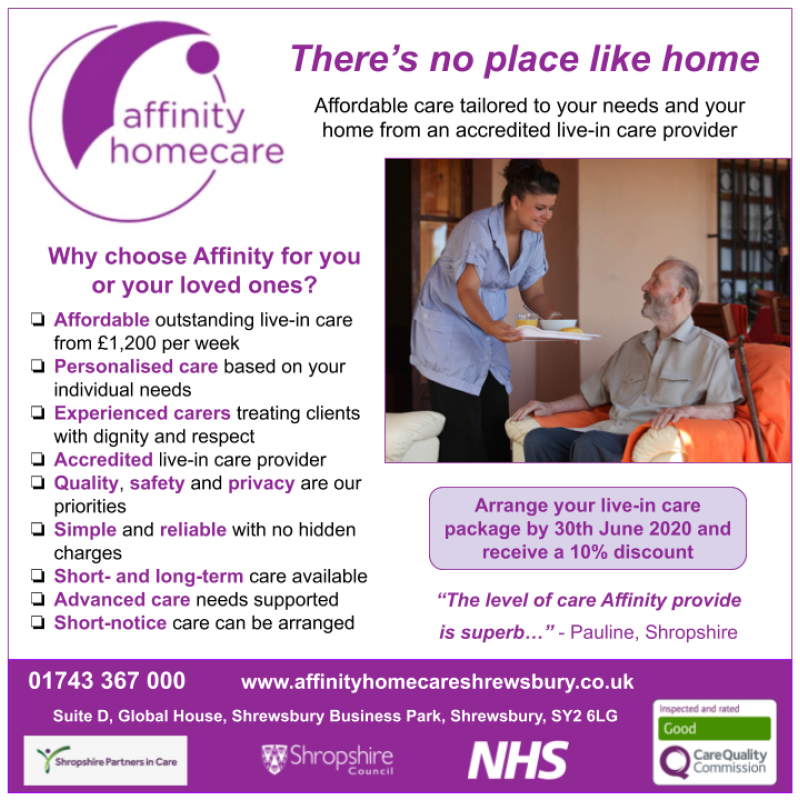 Live-in care packages with Affinity Homecare Shrewsbury